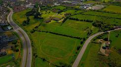 An aerial view of the 73-acre site which is being offered for sale