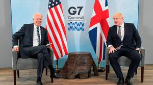 Friendly: Boris Johnson speaks with Joe Biden at Carbis Bay Hotel, St Ives. Credit: WPA Pool/Getty Images