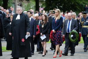 Lord Mayor Nuala McAllister leads the ceremony to mark the Battle of the Somme along with Ireland's Minister of State for European Affairs Helen McEntee and Secretary of State James Brokenshire