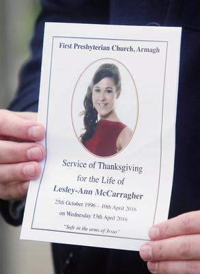 The order of service for the funeral of Lesley Ann McCarragher