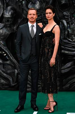 Michael Fassbender with actress Katherine Waterston