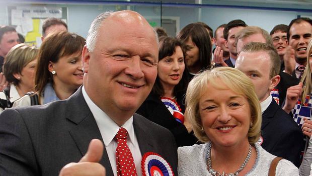 DUP MP David Simpson and wife Elaine after he was elected in Upper Bann three years ago