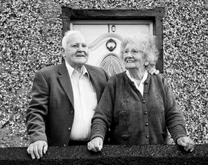 Paddy Doherty with his wife Eileen outside their family home