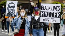 Black Lives Matter protest in Belfast at Custom House Square last month