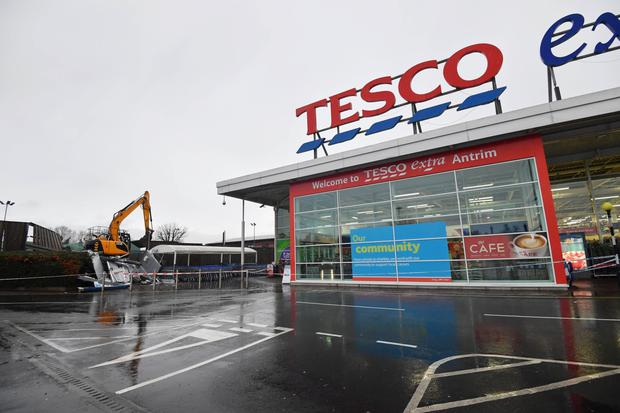 The scene of the ATM robbery, which took place at the Tesco supermarket in Antrim