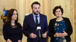SDLP leader Colum Eastwood with Nichola Mallon (left) and Claire Hanna