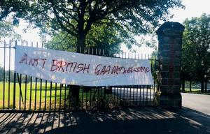 A sectarian sign which was put up at the Grove Playing Fields in Belfast