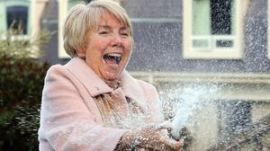 Mary Hamilton celebrates her win at the Culloden hotel outside Belfast