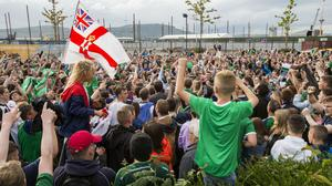 Fans showing their support at the Titanic Fanzone, Belfast