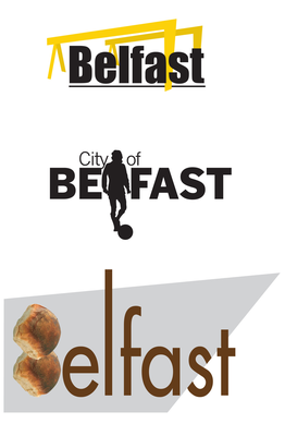 Three of the logos created by Belfast Telegraph's graphic designer Raymond Esteban (inset left) within 20 minutes