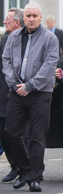Colin Horner at the funeral of Geordie Gilmore in Carrickfergus in March this year
