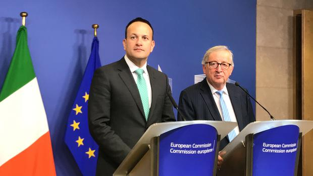 Leo Varadkar and Jean-Claude Juncker in Brussels (Michelle Devane/PA)