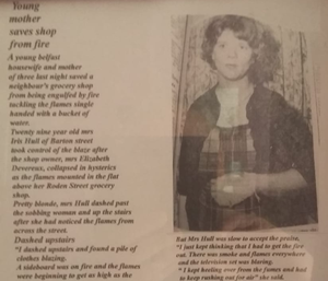 A newspaper article about Iris in her younger days