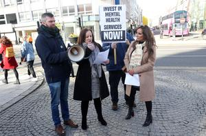 Gerry Carroll from People Before Profit with Sheree Irwin and Mandy McDermott from Compass during a city centre rally held in Belfast last weekend regarding a lack of funding for mental health services