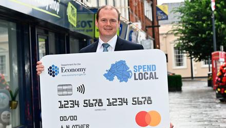Economy Minister Gordon Lyons at the announcement of the High Street Voucher Scheme