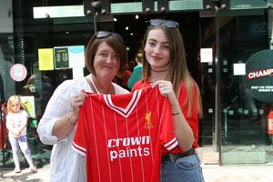 Liverpool fans Sharon and Claire Murray from Belfast