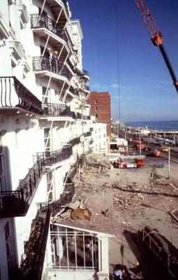 The Grand Hotel in Brighton after it was bombed in 1984