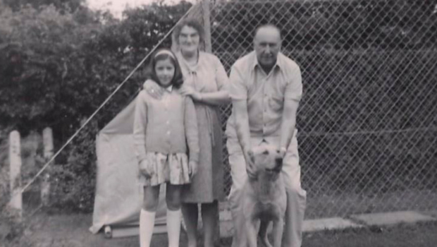 William and Margaret with Annette and Kim the dog