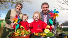 Knockbreda Nursery School pupils Cillian McAlister and Lucy Cousins with Doreen Muskett MBE, president of the Northern Ireland Amenity Council, and Stephen Patton of George Best Belfast City Airport
