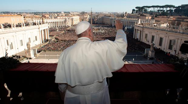 The Pope addressing crowds at the Vatican