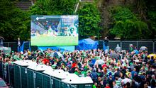 Celtic supporters at the fanzone at the Devenish in west Belfast. Photo: Kevin Scott/Belfast Telegraph