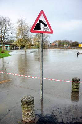 The slipway at Garvaghy Road in Portadown on the heavily swollen River Bann where four men saved the life of a woman as her Mercedes car sank into the river