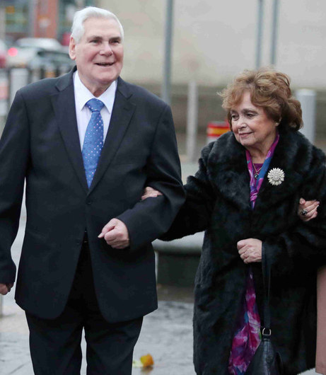 Pastor James McConnell outside court with his wife Margaret during his trial in December