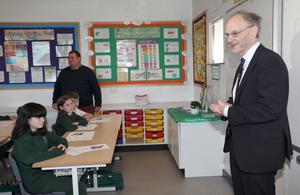 Education Minister, Peter Weir speaks to pupils at St Joseph's Primary School in Carryduf