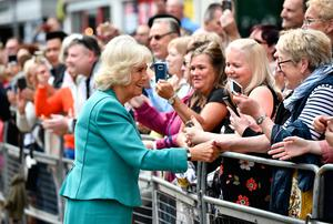 The Duchess of Cornwall chats to the public yesterday