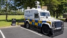 Police in the car park at Grove Playing Fields in north Belfast