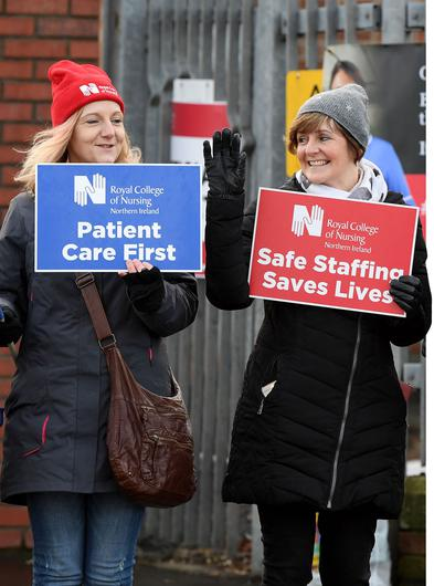 Picket line: Healthcare workers went on strike over a longstanding pay dispute in 2019