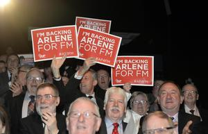 Candidates and supporters at the Spectrum Centre on the Shankill Road, Belfast