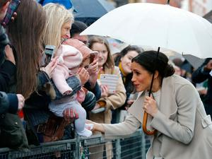 The couple chat with crowds in Belfast