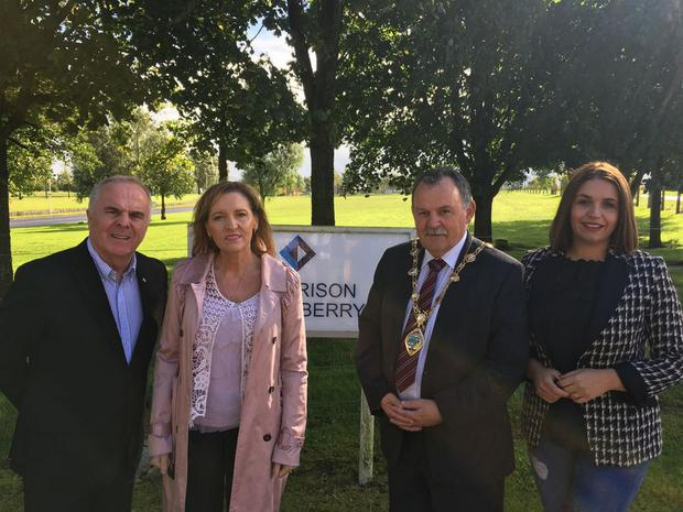 Maoliosa McHugh (second from right) with (from                   left) party colleagues Raymond McCartney, Martina                   Anderson and Elisha McCallion
