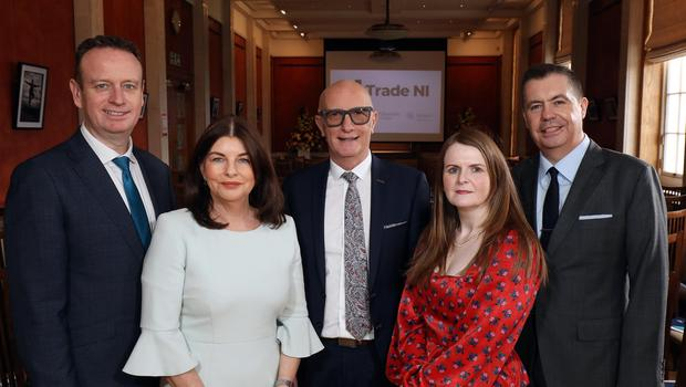 Stephen Kelly, CEO, Manufacturing NI, Sinead McLaughlin MLA, Colin Neill, CEO, Hospitality Ulster, Dr Caoimhe Archibald MLA, and Glyn Roberts, CEO Retail NI at Trade NI's 'Northern Ireland Economy – What Now?' at The Long Gallery, Stormont. (Trade NI/PA)