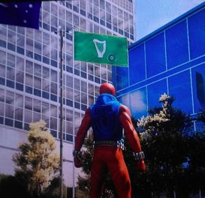 Wrong flag: Spiderman looks up at a flag dating from the time when all of Ireland was part of the United Kingdom