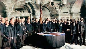 Historic: Sir Edward Carson signing the Ulster Covenant in Belfast City Hall
