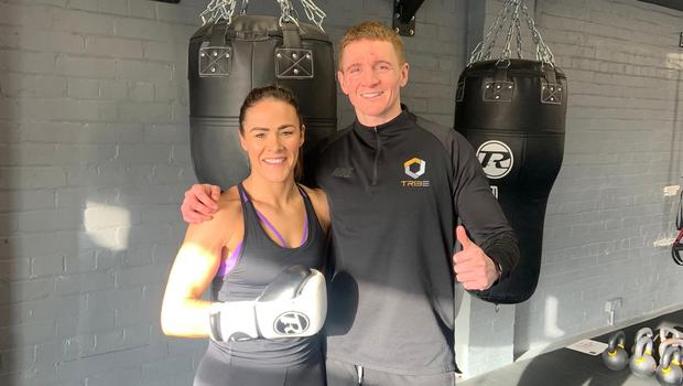Kerry at the gym with boxing coach Mark Ginley