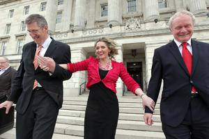 Martina Anderson with party colleagues John O'Dowd and the late Martin McGuinness at Stormont