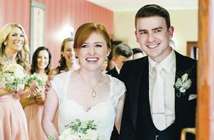 Sheer joy: Matthew and Lillian McKibbin on their wedding day
