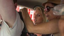 Michaella McCollum and members of her family in the back of a taxi in the Peruvian capital Lima yesterday