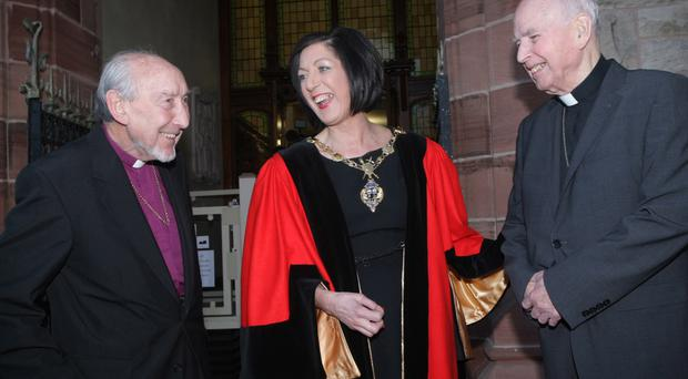 The late Bishop James Mehaffey with the late Bishop Edward Daly when they received the Freedom of the City of Derry from mayor Councillor Brenda Stevenson in 2015