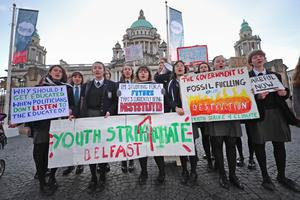 Pupils from Methodist College Belfast took part in the protest (Brian Lawless/PA)