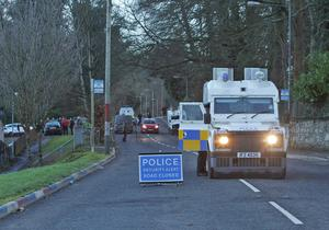 The scene at Currynierin outside Londonderry yesterday during the security operation