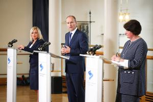 Deputy First Minister Michelle O'Neill and First Minister Arlene Foster with Taoiseach Micheal Martin at Dublin Castle yesterday