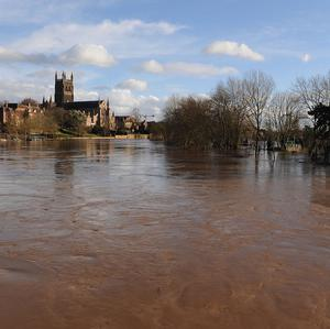 Worcester Cathedral above the River Severn in flood-hit Worcester