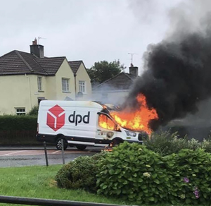 The DPD delivery van that was hijacked and set on fire in Derry's Creggan estate