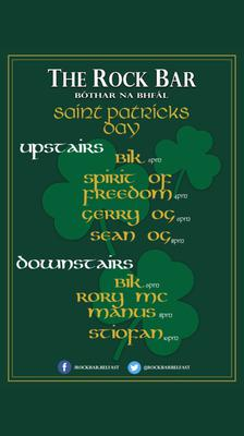 The poster advertising The Rock Bar's St Patrick's Day events