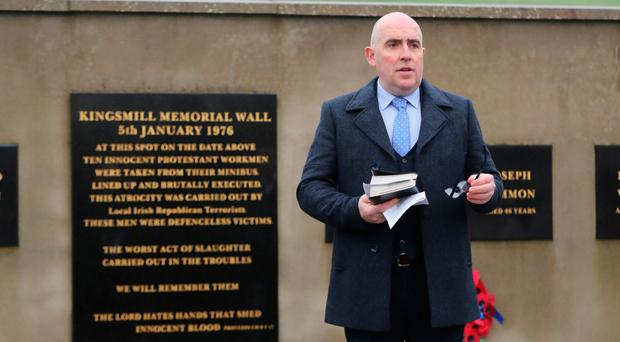 Pastor Barrie Halliday speaking at the Kingsmill memorial service at the scene of the atrocity in Co Armagh