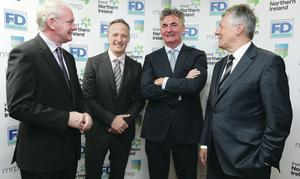 First Minister Peter Robinson (right), and deputy First Minister Martin McGuinness (left) welcome the new jobs announcement with Brian Conlon of First Derivatives (centre right) and Kevin Cunningham of Market Resource Partners